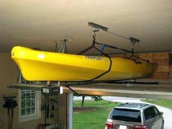 Kayak stored in garage